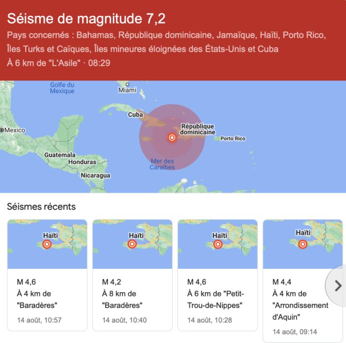 Haiti-Séisme: Une secousse de 7.2 vient de frapper le Sud d'Haiti
